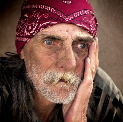 homeless, man, color